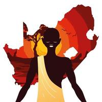 person afro with map of South Africa in the background vector
