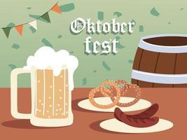Oktoberfest cerveza barril salchichas y pretzels diseño vectorial vector