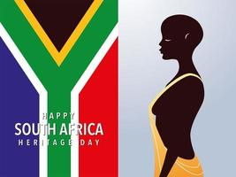 person afro with flag of South Africa vector