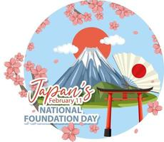 Japan National Foundation Day banner with vector
