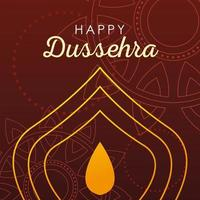 card greeting happy Dussehra with gold lettering and decoration vector
