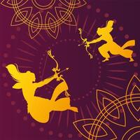 silhouettes of Lord Rama with bow and arrow for the Indian festival Dussehra vector