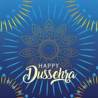 happy Dussehra label, traditional indian holiday vector