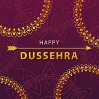 golden lettering with happy Dussehra label vector