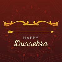 happy Dussehra greeting card with gold lettering and decoration vector