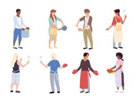 set of people with kitchen utensils on white background vector