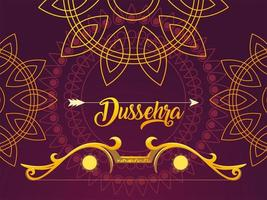 Dussehra label with golden bow and arrow vector