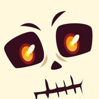 head of skeleton character for happy halloween vector
