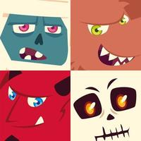 set of icons halloween with heads mummy, ghost, skeleton and devil vector
