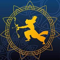 silhouette of lord rama with bow and arrow for the Indian festival vector