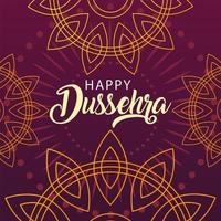 happy Dussehra label with decorative ornament vector