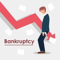 bankruptcy, man in financial crisis, economic problem vector