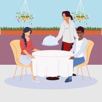 couple sitting at the restaurant table, waitress serving vector