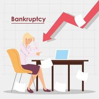 business woman in office in financial crisis, economic problem vector