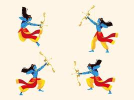 Lord Rama with bow and arrow, set of four poses vector