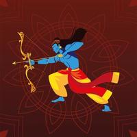 lord Rama with bow and arrow over floral decorative background vector