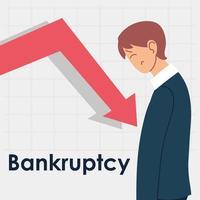 bankruptcy, man in financial crisis vector