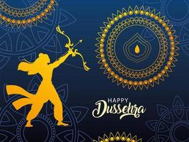 template with lord rama and label happy Dussehra vector