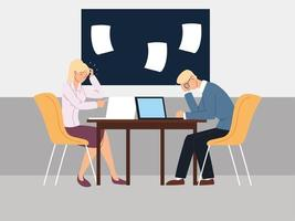 business people in the office, financial crisis or economic problems vector