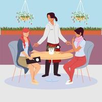 women sitting at the restaurant table, waitress serving vector