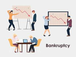 set of business people in office, financial crisis or economic problem vector