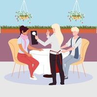 people sitting at the restaurant table, waitress take an order vector