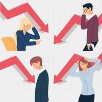 bankrupt business people, financial problems vector