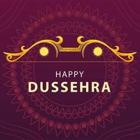 happy Dussehra festival card with gold lettering vector