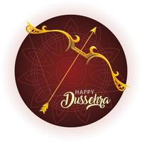 traditional bow and arrow for hindu festival happy Dussehra vector