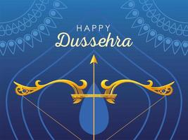 happy Dussehra label with golden bow and arrow vector
