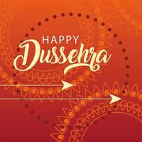 happy Dussehra greeting card with golden arrows vector