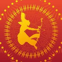 silhouette of lord rama with bow and arrow for the Indian festival Dussehra vector