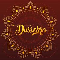card greeting happy Dussehra with gold lettering vector
