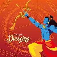 lord Rama with bow and arrow in happy Dussehra festival vector