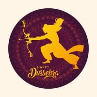 lord Rama with bow and arrow, poster with text happy Dussehra vector