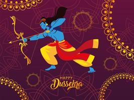 poster of lord Rama with bow and arrow, label happy Dussehra vector