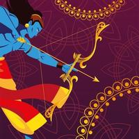 template of the lord Rama with bow and arrow on decorative background vector