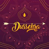 golden lettering with Dussehra label and arrow vector