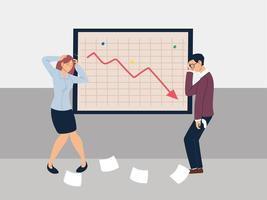 business people at presentation of decreasing chart, financial crisis vector
