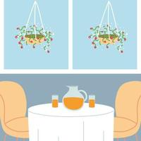 cute dining table and chairs for two people vector