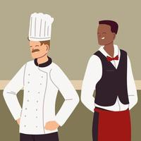 portrait of chef and waiter in working uniform vector