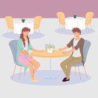 couple of people having dinner in the restaurant, romantic dinner vector