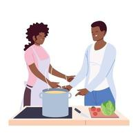 couple of people preparing soup on white background vector
