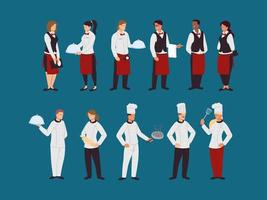 set of chefs and waiters in work uniforms vector