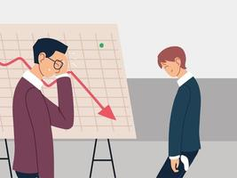 businessmen in the office, financial crisis or economic problems vector