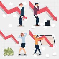 set of business people bankrupt, economic problems vector