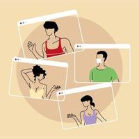 group of people talking in videocall conference, social distancing vector