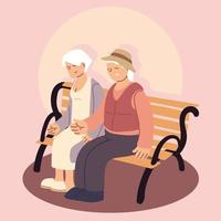 happy grandparents day, elderly couple sit outdoor vector