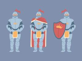 set of medieval knights in armor vector