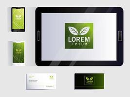 corporate branding identity mockup over white background vector